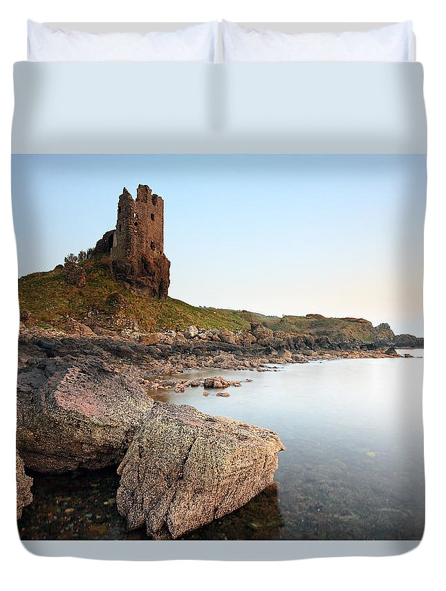 Dunure Duvet Cover featuring the photograph Dunure Castle by Grant Glendinning