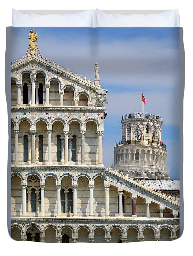 Christianity Duvet Cover featuring the photograph Duomo And Campanile by Inge Johnsson