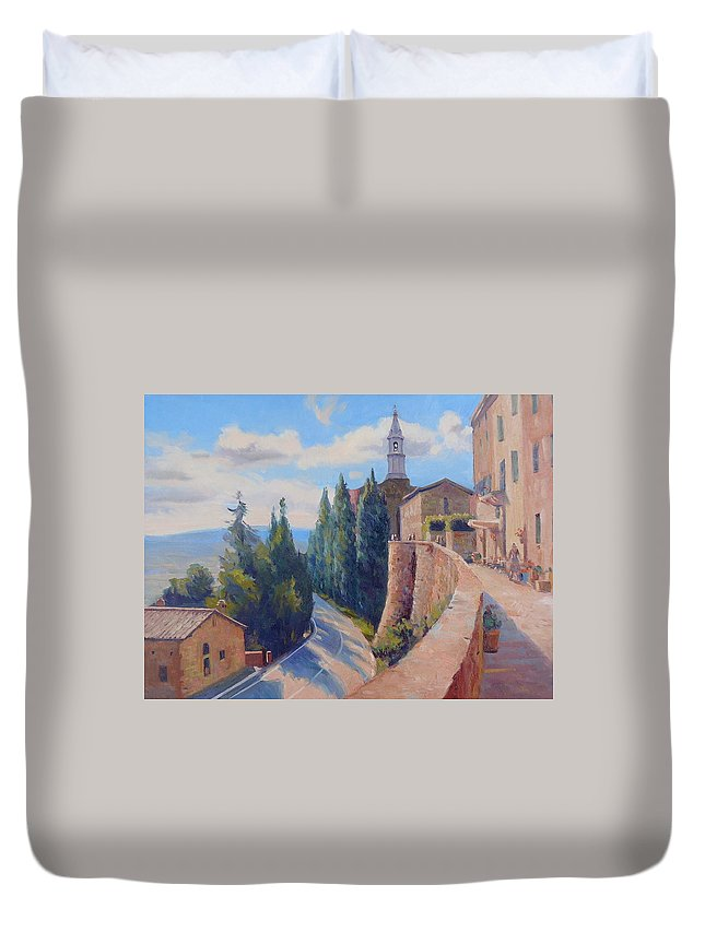 Italy Duvet Cover featuring the painting Duomo Pienza by Dianne Panarelli Miller