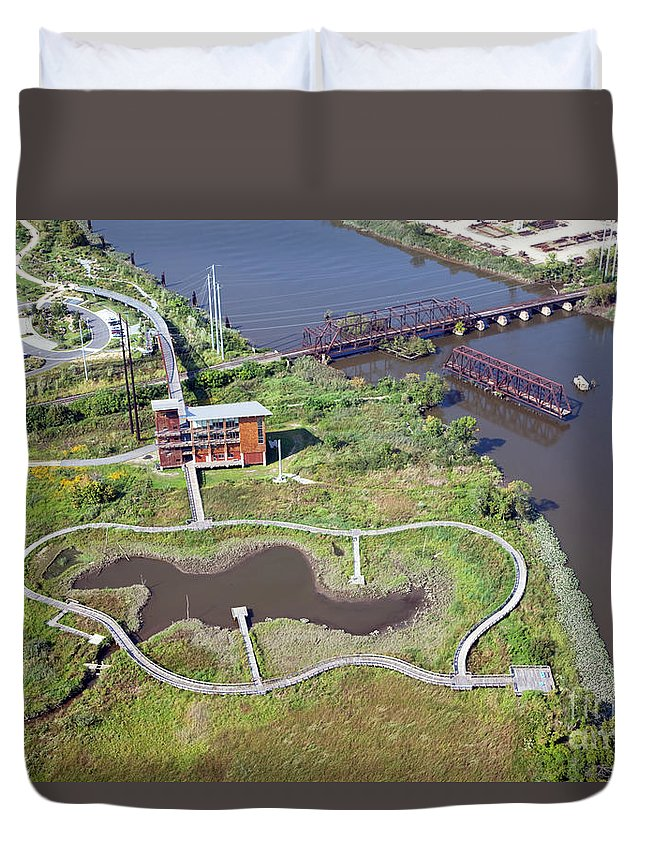 Aerial Duvet Cover featuring the photograph Dupont Wildlife Education Center by Bill Cobb
