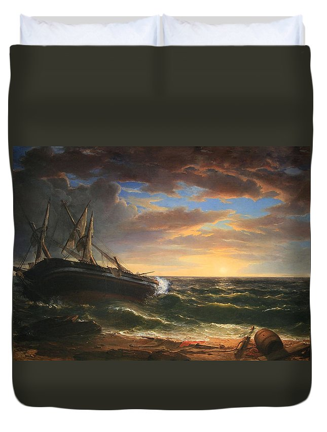 The Duvet Cover featuring the photograph Durand's The Stranded Ship by Cora Wandel