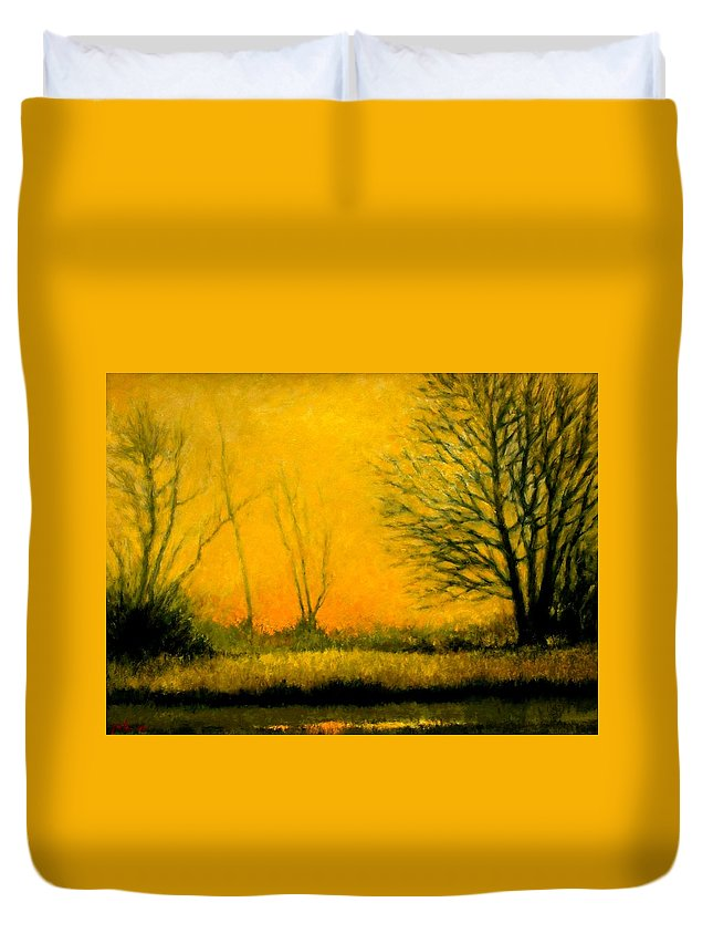 Landscape Duvet Cover featuring the painting Dusk At The Refuge by Jim Gola