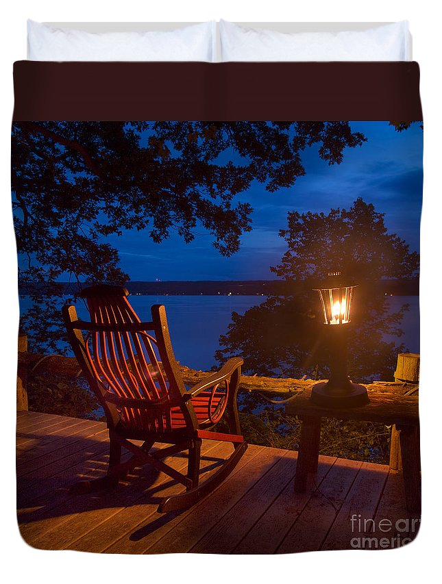 Michele Duvet Cover featuring the photograph Dusk On The Lake Square by Michele Steffey