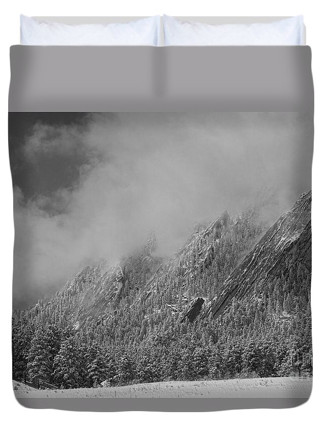 Flatirons Duvet Cover featuring the photograph Dusted Flatirons Low Clouds Boulder Colorado Bw by James BO Insogna