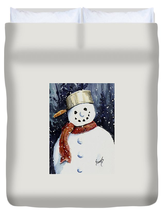 Snow Duvet Cover featuring the painting Dustie's Snowman by Sam Sidders