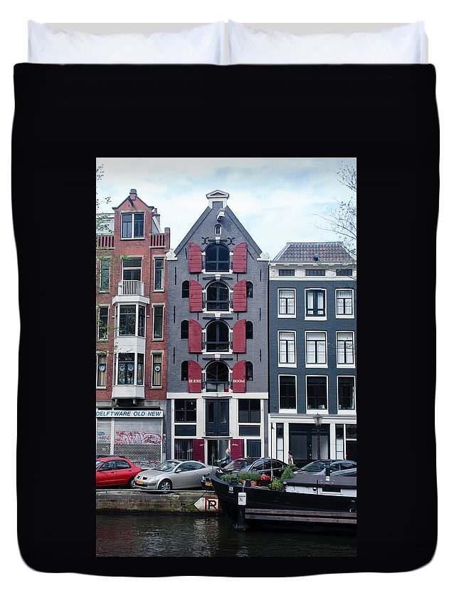 Amsterdam Duvet Cover featuring the photograph Dutch Canal House by Thomas Marchessault