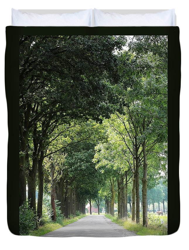 Holland Duvet Cover featuring the photograph Dutch Landscape - Country Road by Carol Groenen