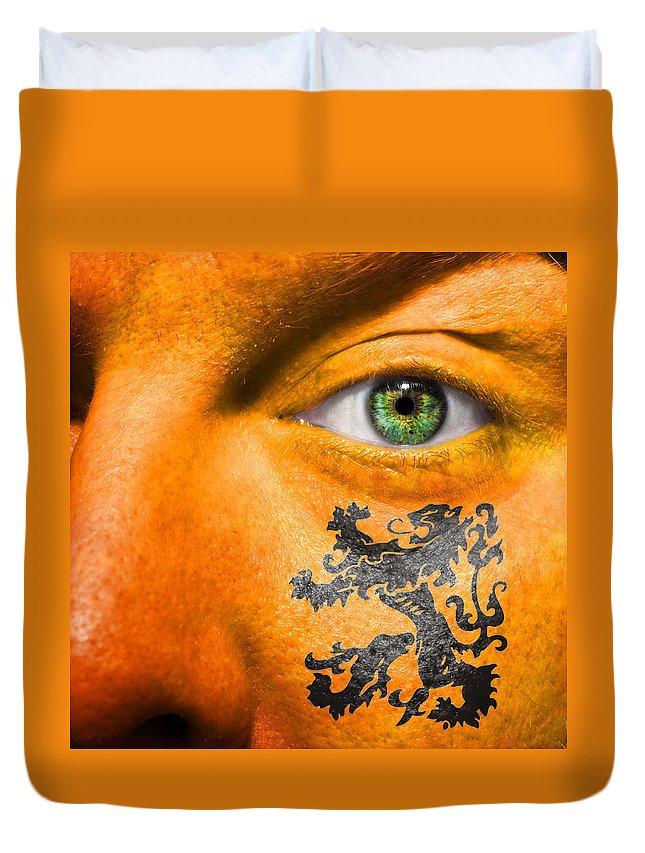 Black Duvet Cover featuring the photograph Dutch Royal Lion by Semmick Photo