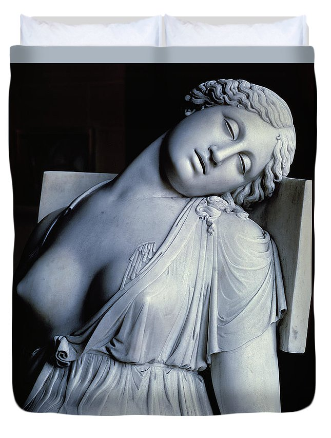 Dead Duvet Cover featuring the painting Dying Lucretia by Damian Buenaventura Campeny y Estrany