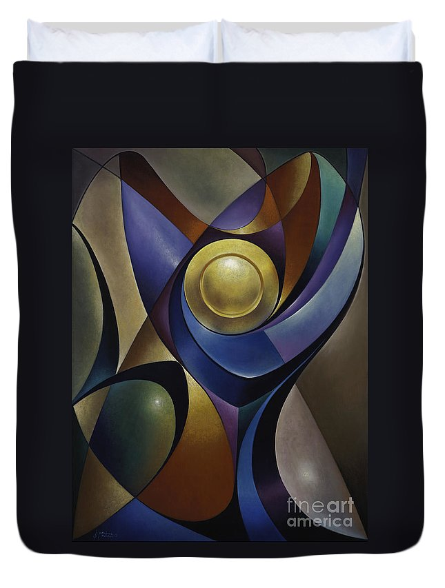 Stained-glass Duvet Cover featuring the painting Dynamic Chalice by Ricardo Chavez-Mendez