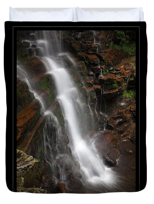Waterfall Duvet Cover featuring the photograph Dynamic Descent by John Stephens