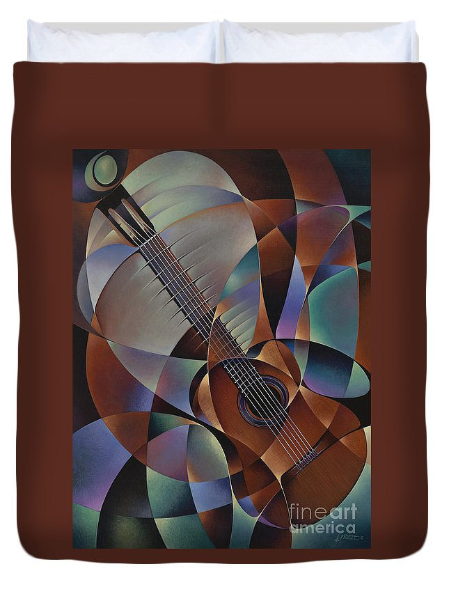 Violin Duvet Cover featuring the painting Dynamic Guitar by Ricardo Chavez-Mendez
