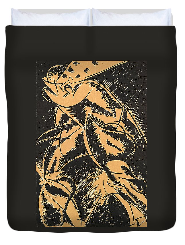 Boccioni Duvet Cover featuring the painting Dynamism Of A Human Body by Umberto Boccioni