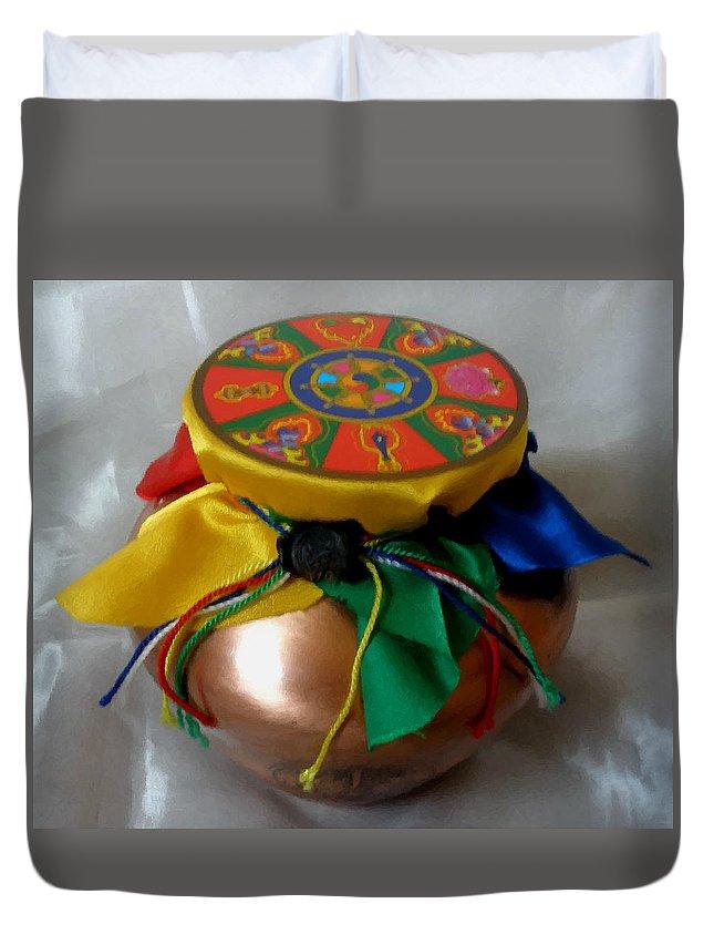Closeup Duvet Cover featuring the painting Dzambala Fortune Vase by Jeelan Clark