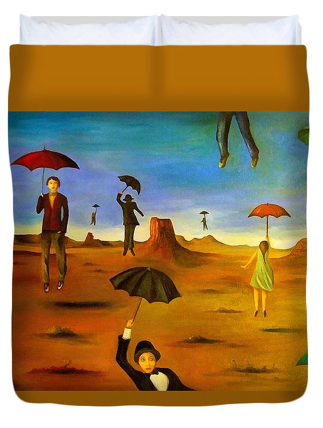 Umbrella Duvet Cover featuring the painting Spirit Of The Flying Umbrellas Edit 4 by Leah Saulnier The Painting Maniac