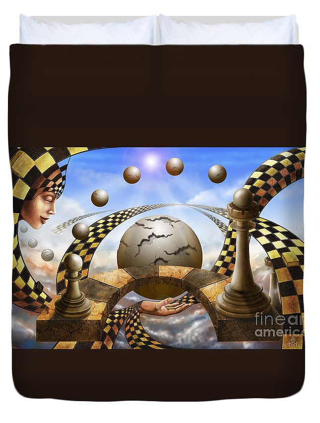 Surrealism Duvet Cover featuring the painting Each Pawn Dreams To Become A Queen by Serge M