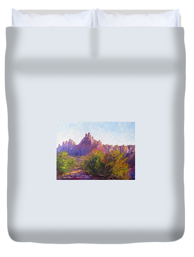Plein Air Impressionist Oil Painting Duvet Cover featuring the painting Eagle Crags by Terry Chacon