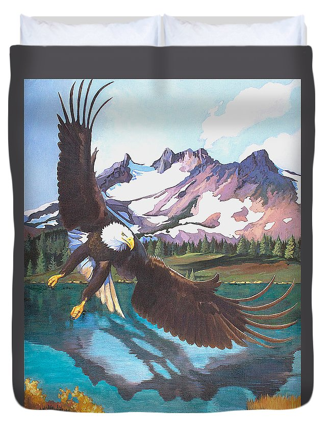 Eagle Duvet Cover featuring the painting Eagle Oregon Lake by Susan McNally
