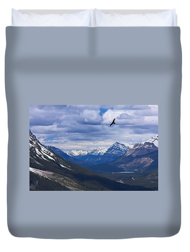 Peyto Lake Duvet Cover featuring the photograph Eagle Over Peyto Lake by Stuart Litoff
