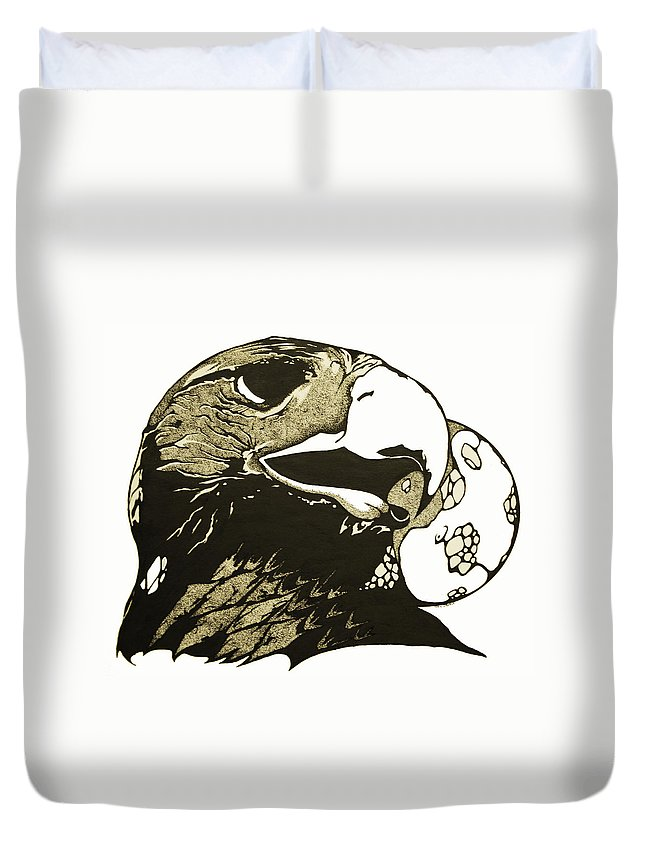 Eagle Duvet Cover featuring the painting Eagle Planet by Daniel P Cronin