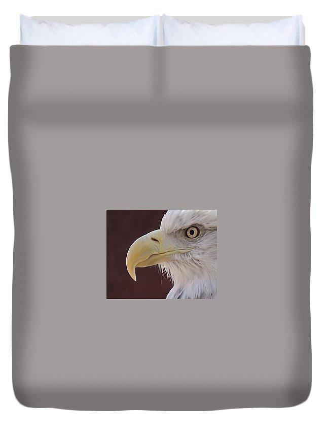 Birds Duvet Cover featuring the digital art Eagle Portrait Freehand by Ernie Echols