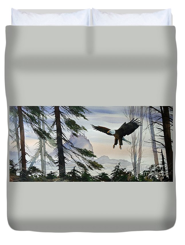 Eagle Fine Art Print Duvet Cover featuring the painting Eagle Wilderness by James Williamson