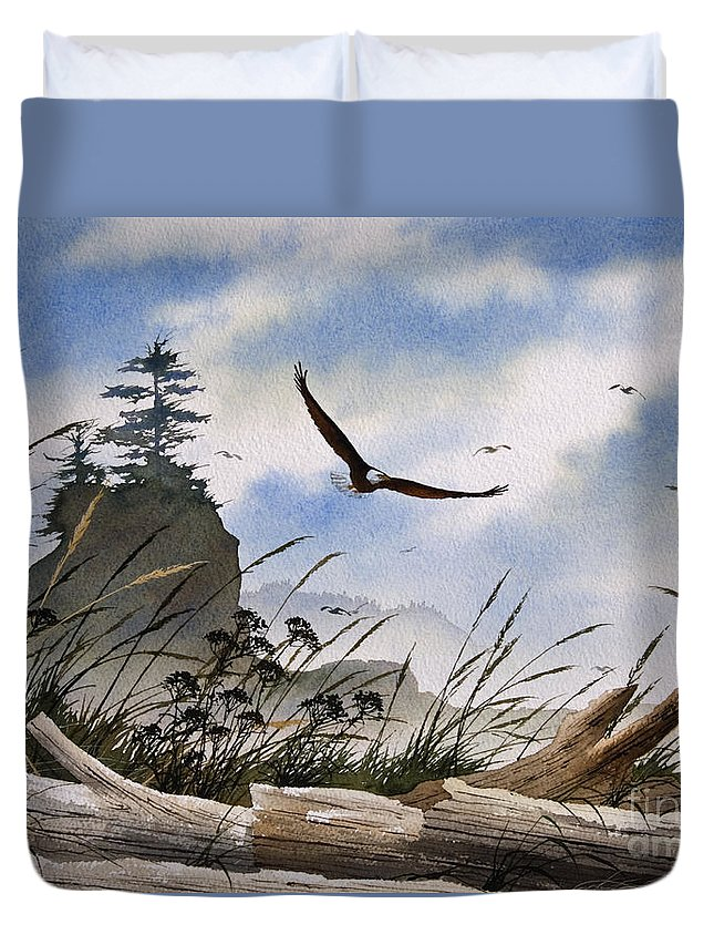 Eagle Fine Art Print Duvet Cover featuring the painting Eagles Home by James Williamson