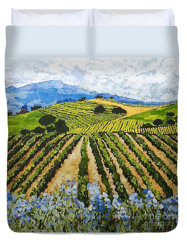 Landscape Duvet Cover featuring the painting Early Crop by Allan P Friedlander