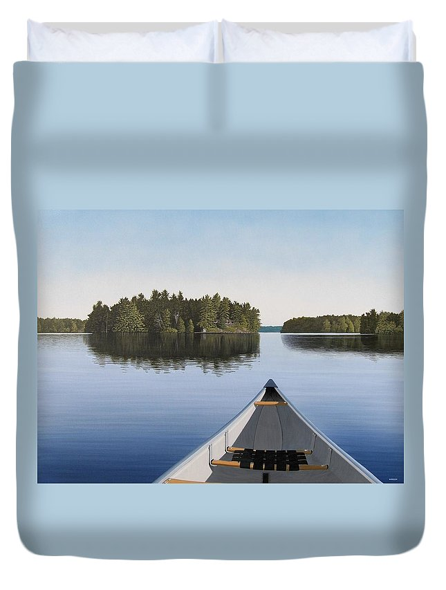 Canoe Duvet Cover featuring the painting Early Evening Paddle by Kenneth M Kirsch