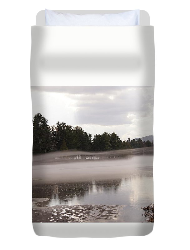 Fog And Ice Duvet Cover featuring the photograph Early Fog by Jeffery L Bowers