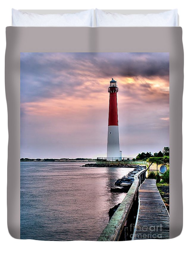 Architecture Duvet Cover featuring the photograph Early Morn At Barnegat Light by Nick Zelinsky