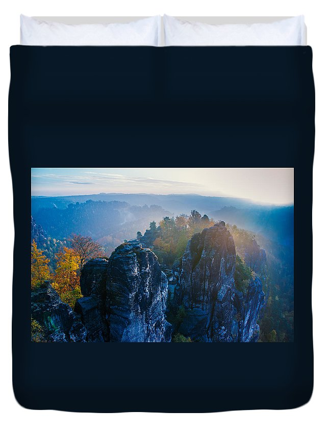 Germany Duvet Cover featuring the photograph Early Morning Mist At The Bastei In The Saxon Switzerland by Sun Travels
