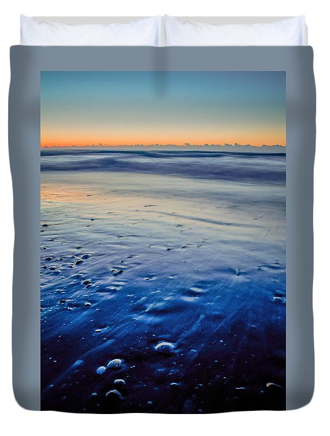 Beach Duvet Cover featuring the photograph Early Morning On A Sea Coast by Alex Grichenko