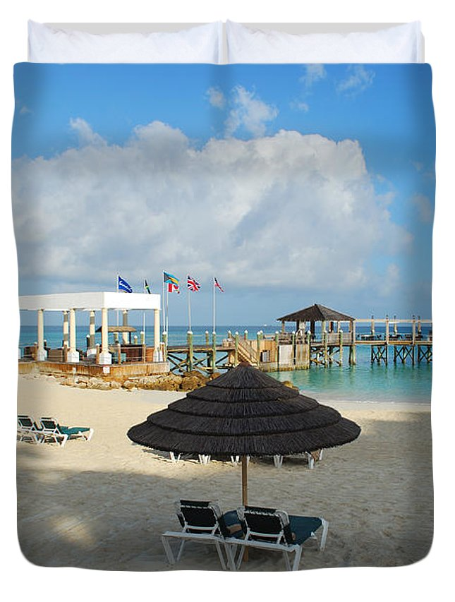 Tropical Duvet Cover featuring the photograph Early Morning Shade On A Tropical Beach  by Bob Sample