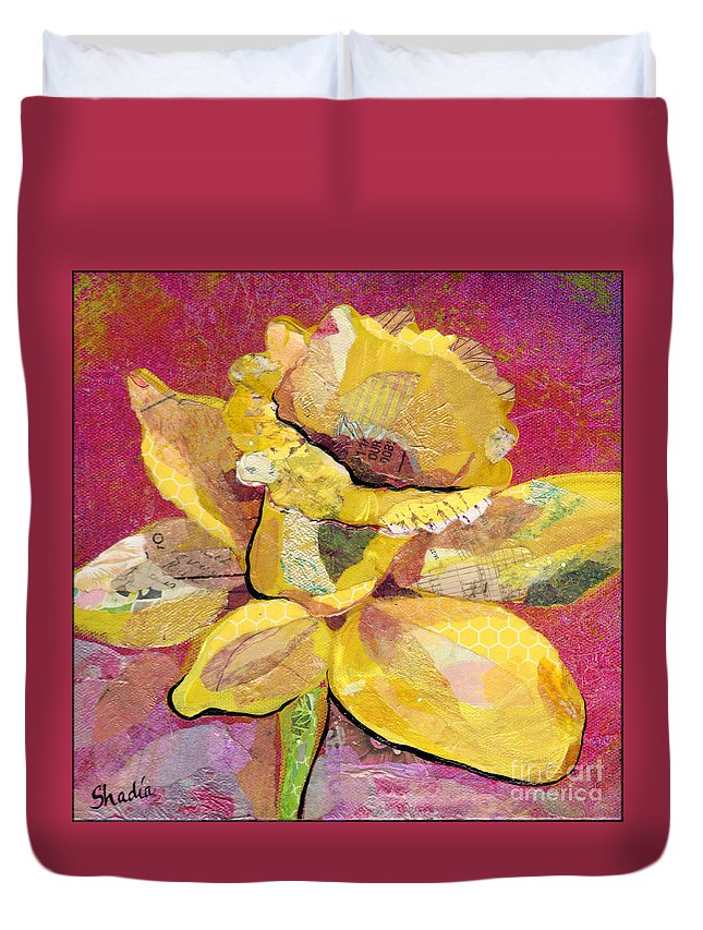Flower Paintings Duvet Cover featuring the painting Early Spring IIi Daffodil Series by Shadia Derbyshire