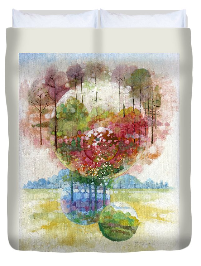 Planets Duvet Cover featuring the painting Early Spring by John Lautermilch