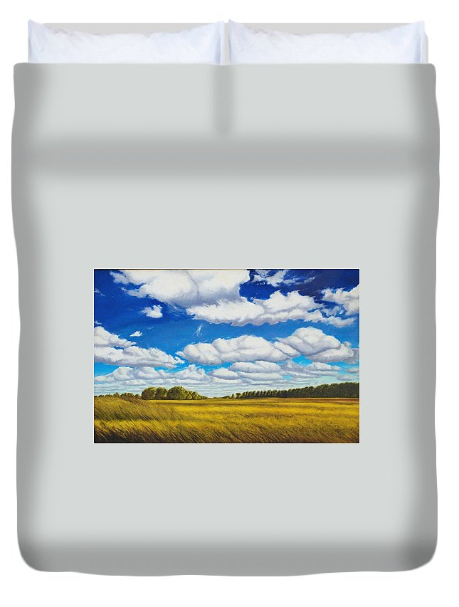 Wheat Duvet Cover featuring the painting Early Summer Clouds by Leonard Heid