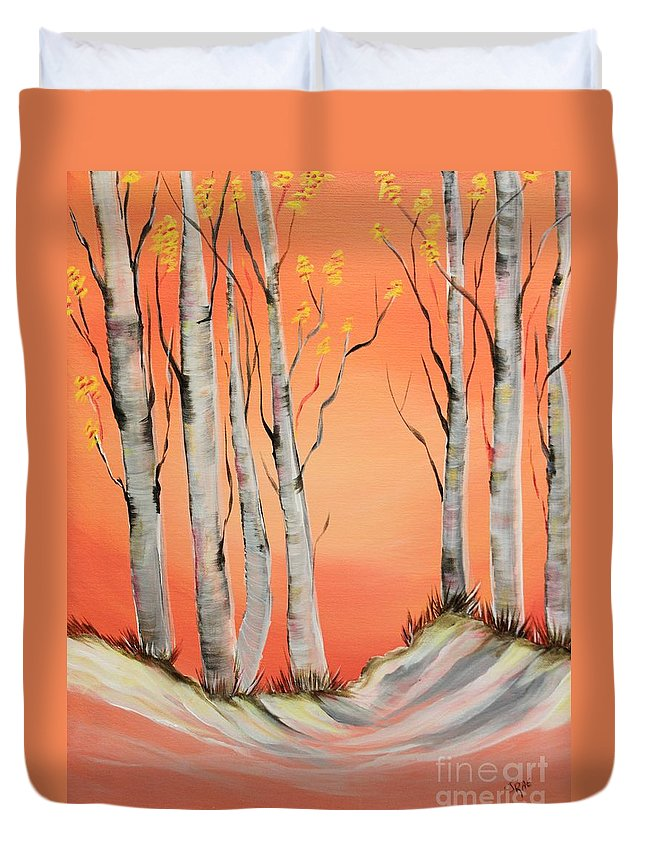 Colorado Duvet Cover featuring the painting Early Winter Aspen by Janice Pariza