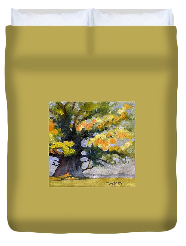 Oak Duvet Cover featuring the painting Earlysville Virginia Ancient White Oak by Catherine Twomey