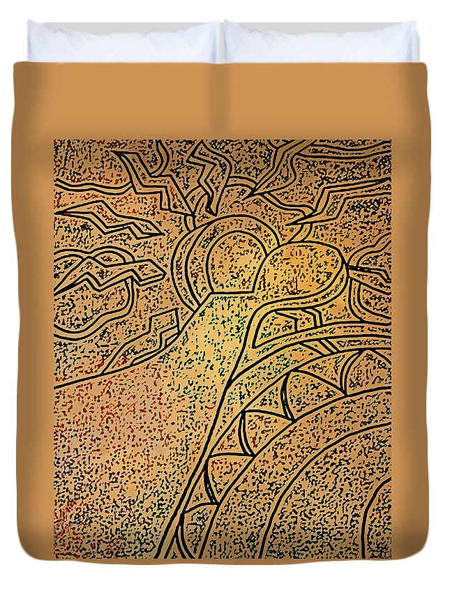 Sun Duvet Cover featuring the drawing Earth And Sun by Catherine Harms