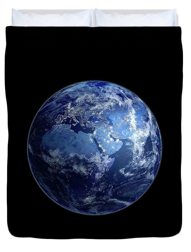 Globe Duvet Cover featuring the digital art Earth At Night, Artwork by Science Photo Library - Andrzej Wojcicki