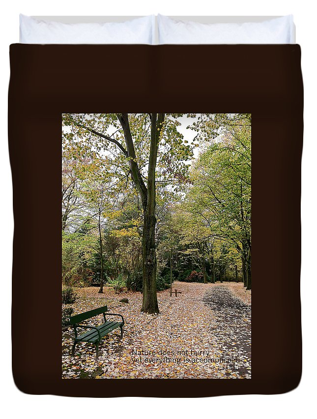 Photography Duvet Cover featuring the photograph Earth Day Special - Bench In The Park by Ivy Ho
