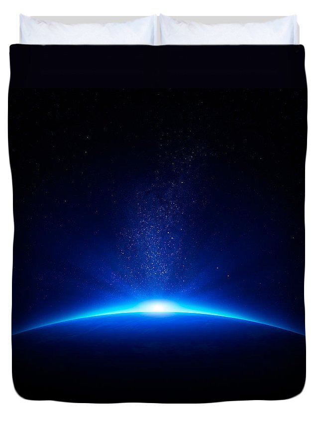 Earth Duvet Cover featuring the photograph Earth Sunrise In Space by Johan Swanepoel