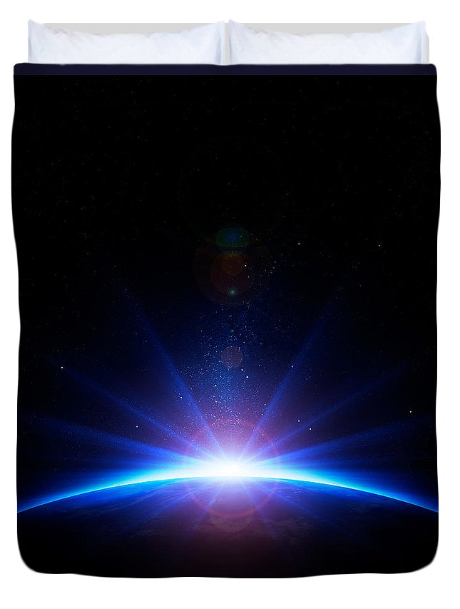 Earth Duvet Cover featuring the photograph Earth Sunrise by Johan Swanepoel