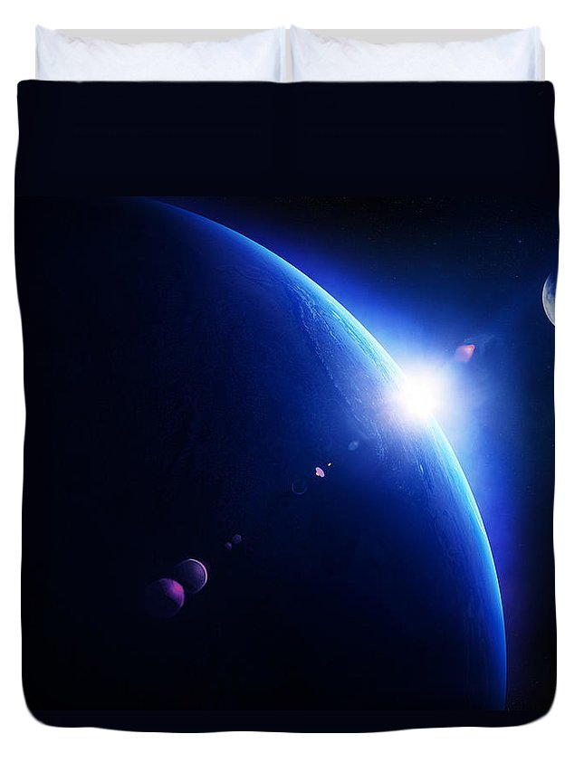 Earth Duvet Cover featuring the photograph Earth Sunrise With Moon In Space by Johan Swanepoel