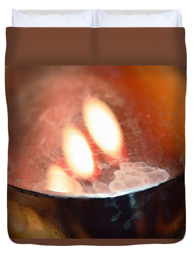 Orange Duvet Cover featuring the painting Earth Tone Art - Warmth By Sharon Cummings by Sharon Cummings