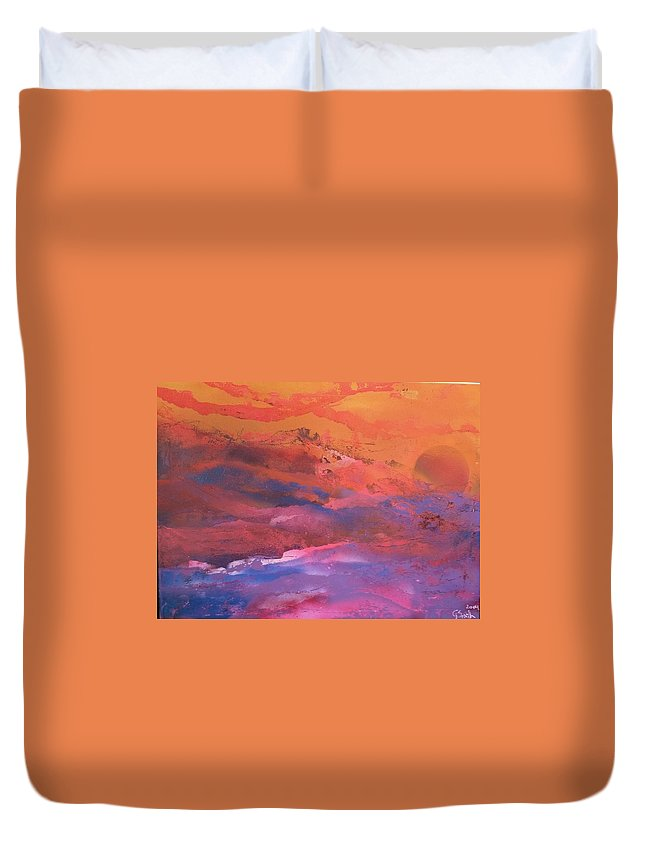 Abstract Duvet Cover featuring the painting Earth's Canvas by Gerry Smith