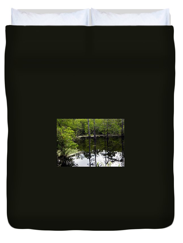 East Texas Duvet Cover featuring the photograph East Texas Cyprus Pond by Shere Crossman