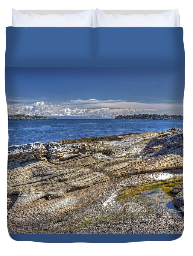Water Duvet Cover featuring the photograph East To Mistaken Island by Randy Hall