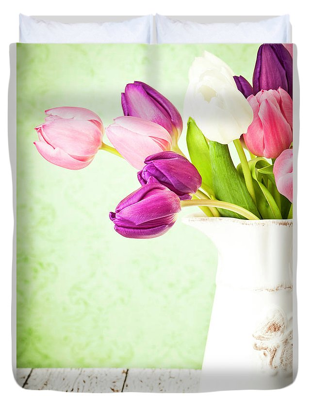 Mother's Day Duvet Cover featuring the photograph Easter Tulips And Copy Space by Catlane